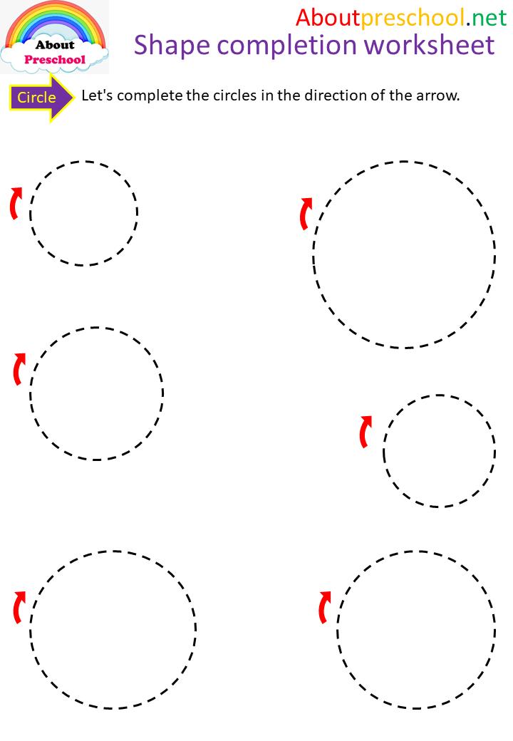 Preschool-Shape Completion Worksheet-Circle - About Preschool