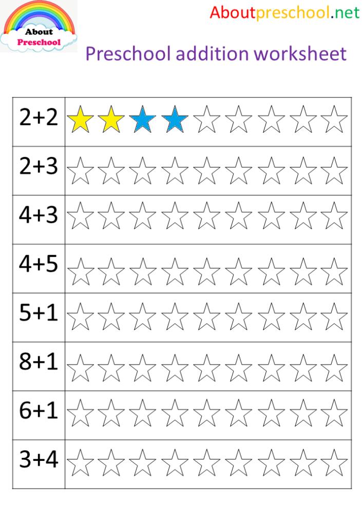 Preschool Addition Worksheet-Star - About Preschool